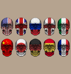 skull flags set vector image