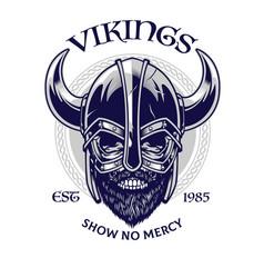 Skull viking warrior in t-shirt design style vector
