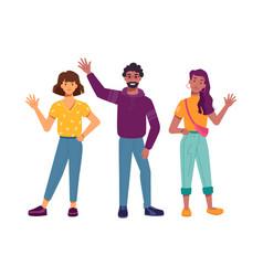 smiling multiracial people characters waving hand vector image