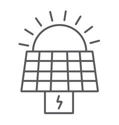solar panel thin line icon ecology and power sun vector image