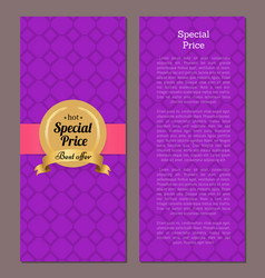 special price hot best offer golden label on cover vector image