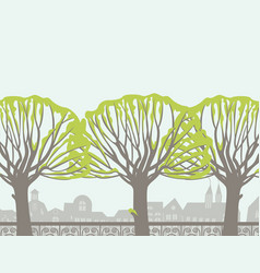 spring landscape with trees birds and birdhouse vector image