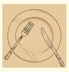 Vintage poster with knife fork plate vector