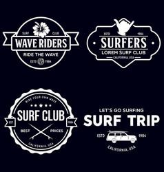 vintage surfing emblems for web design or print vector image