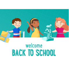 welcome back to school concept little kids vector image
