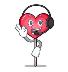 With headphone heart lollipop mascot cartoon vector