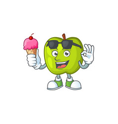 With ice cream character granny smith green apple vector