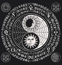 Yin yang symbol with sun moon cobweb and magic vector