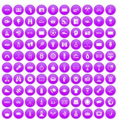 100 sport journalist icons set purple vector