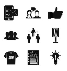 business strategy icons set simple style vector image