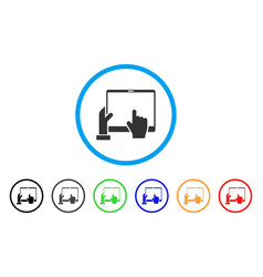 Hand points pda rounded icon vector