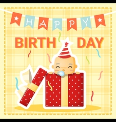 Happy birthday card with cute baby 1 vector image