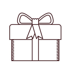 monochrome silhouette of gift box with decorative vector image vector image