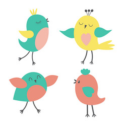 set of colorful cute birds vector image vector image