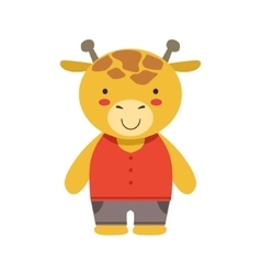 Smiling giraffe in red top and brown pants cute vector
