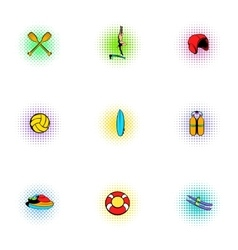 Water stay icons set pop-art style vector image