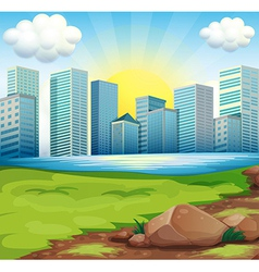 A view of the tall buildings under the bright sun vector image vector image