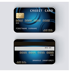 Blue credit card Banking concept front and back vector image vector image