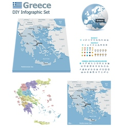 Greece maps with markers vector image