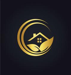 home gold leaf nature logo vector image vector image