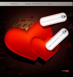 two red hearts valentines day background vector image