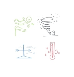 Cold and windy weather set vector