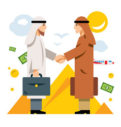 deal partnership agreement middle east vector image vector image
