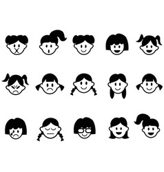 girls emotion face icons vector image vector image