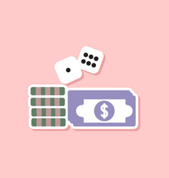 Paper sticker on stylish background money dice vector