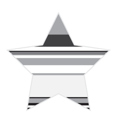 Striped black and white star icon vector