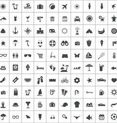 100 beach icons vector image