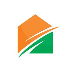 abstract house arrow logo image vector image