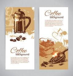 Banner set of vintage coffee backgrounds vector image