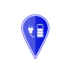 blue map pointer with car charge station vector image