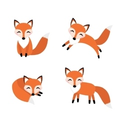 Cute fox set flat style Foxy in different poses vector image