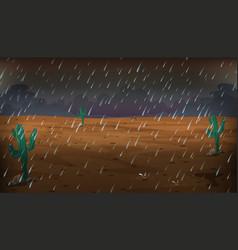 desert scene on rainy day vector image vector image