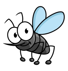 Funny smiling gray mosquito cartoon character vector image