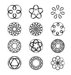 geometric circular ornament spirograph flower vector image vector image