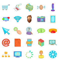 it support icons set cartoon style vector image vector image