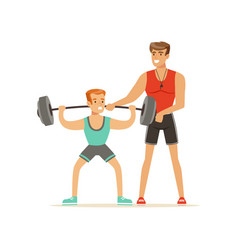 professional fitness coach man exercising with a vector image vector image