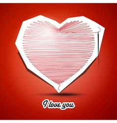 red string heart with needle on the end and I love vector image vector image