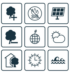 set of 9 eco-friendly icons includes world vector image vector image