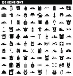 100 hiking icon set simple style vector image