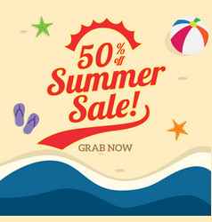 50 off summer sale poster promotion with sand vector