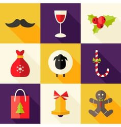 9 Christmas Flat Icons Set 2 vector