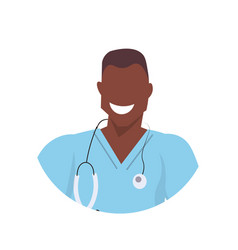 African male doctor with stethoscope face avatar vector