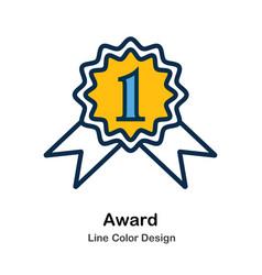 Award line color icon vector