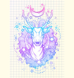 Beautiful hand-drawn tribal style deer in neon vector