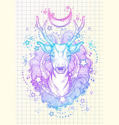 beautiful hand-drawn tribal style deer in neon vector image