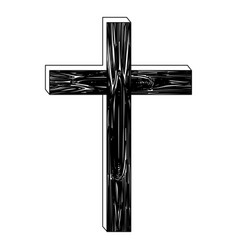 Black silhouette of wooden cross vector